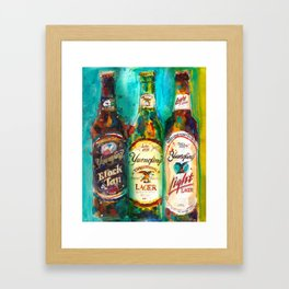 Yuengling Beer - Black and White, Lager and Light Beer Framed Art Print