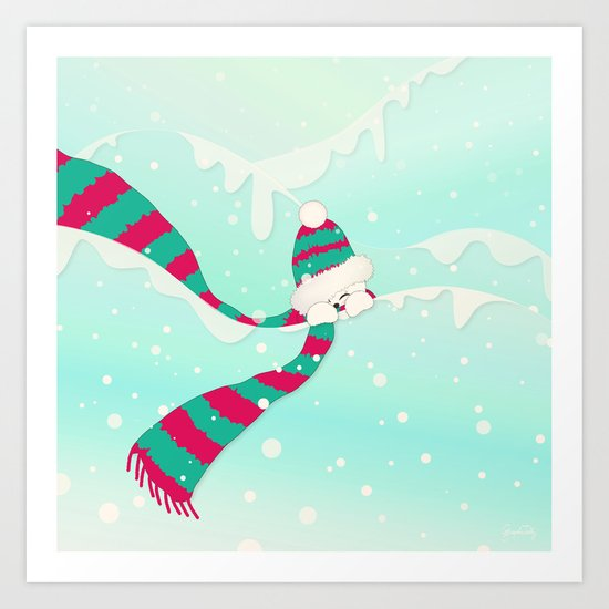 Christmas Peekaboo Snowman I - Mint Blue Snowy Background Art Print