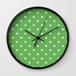 Polka Dots Pattern: Grass Green Wall Clock