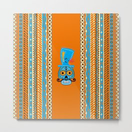 Sugar Skull with Mexian style borders Metal Print