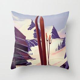 Grand Targhee, Alta, Wyoming ski poster Throw Pillow