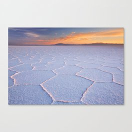 II - Salt flat Salar de Uyuni in Bolivia at sunrise Canvas Print