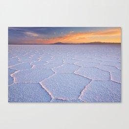 II - Salt flat Salar de Uyuni in Bolivia at sunrise Canvas Print