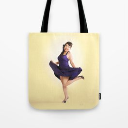 """Flirt Skirt"" - The Playful Pinup - Cheesecake Pinup Smile in Purple Dress by Maxwell H. Johnson Tote Bag"