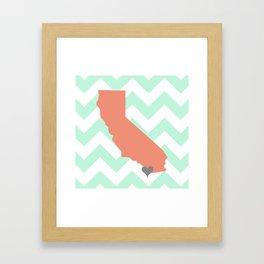 San Diego California in Coral on Mint Chevron Framed Art Print
