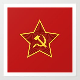 Red Star Hammer and Sickle Art Print