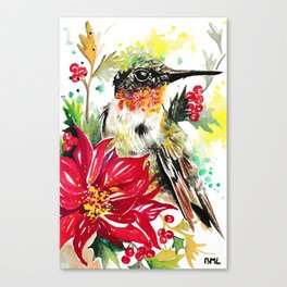 Christmas hummingbird 1 Canvas Print