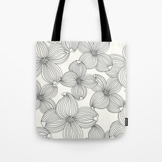 Dogwood Floral Linear: Black Ivory Tote Bag