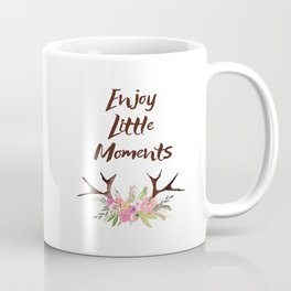 Deer Antlers with flowers , quotes , inspirational quote Coffee Mug
