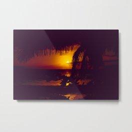 Kamaole Tropical Nights Sunset Gold Purple Palm Metal Print