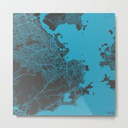 Rio map blue Metal Print