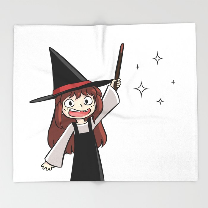 Cute witch girl Throw Blanket