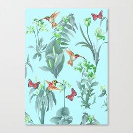 hummingbird floral blue Canvas Print