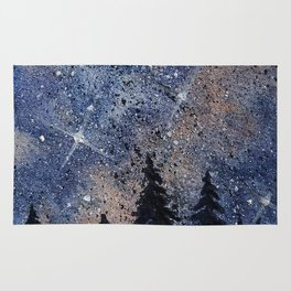 Pine trees and galaxies watercolor Rug