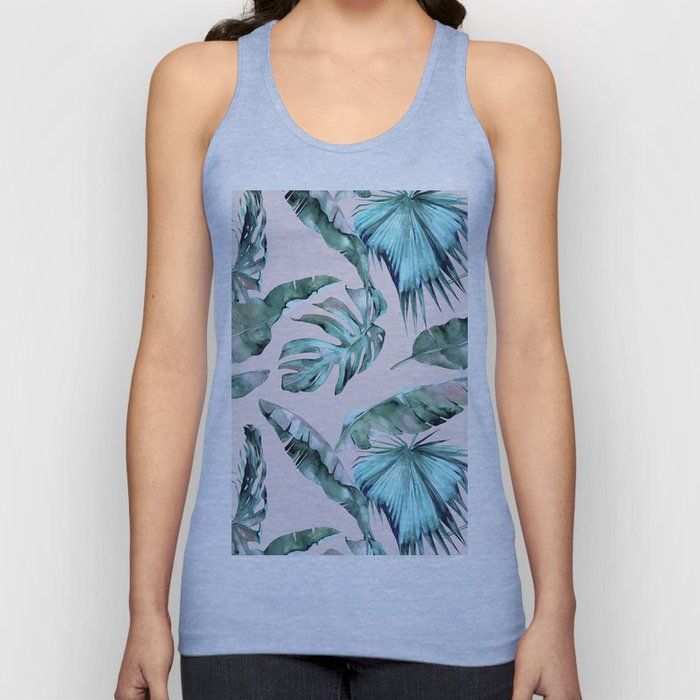 Tropical Palm Leaves Turquoise Green Coral Pink Unisex Tank Top