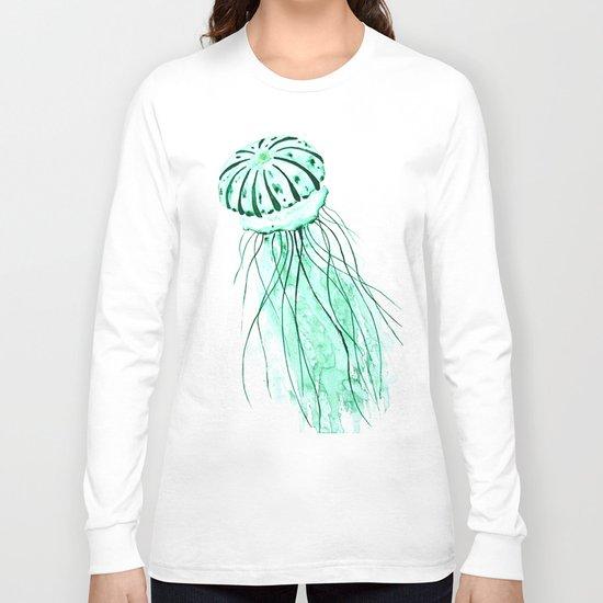 green jellyfish watercolor Long Sleeve T-shirt