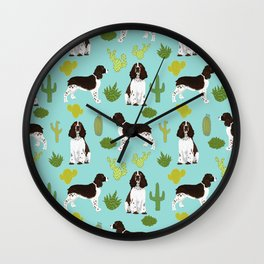 English Springer Spaniel southwest desert cactus pattern by pet friendly Wall Clock