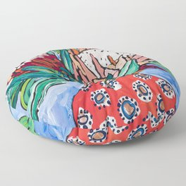 Protea Bouquet in Red Bulb vase on Ultramarine Blue Floral Still Life Painting Floor Pillow