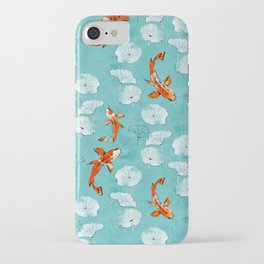 Waterlily koi in turquoise iPhone Case