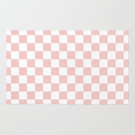Gingham Pink Blush Rose Quartz Checked Pattern Rug