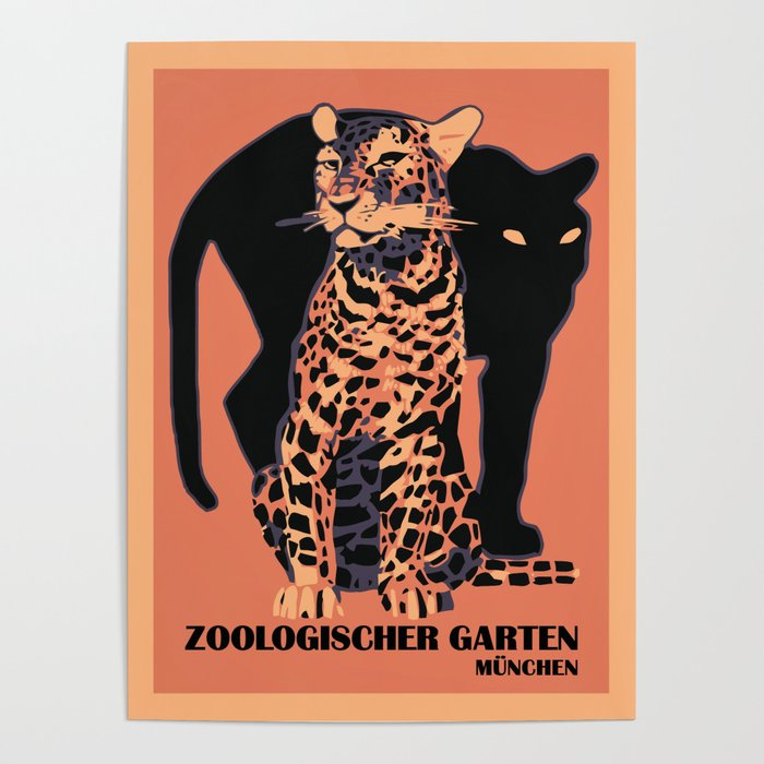 Retro vintage Munich Zoo big cats Poster