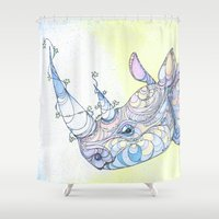 rhino Shower Curtains featuring Rhino by Kate Fitzpatrick