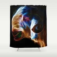 ram Shower Curtains featuring Ram by Veronika