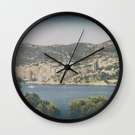 Panoramic view of Monaco from Cap Martin in summer Wall Clock