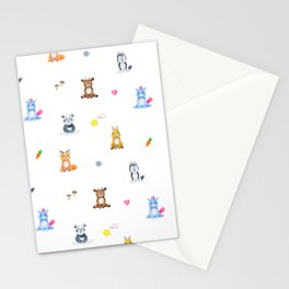 Cute pink blue orange watercolor animal pattern Stationery Cards