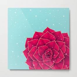 Big Holidays Christmas Red Echeveria Design Metal Print