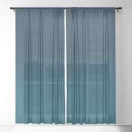 Navy blue teal hand painted watercolor paint ombre Sheer Curtain