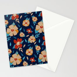 Floral Pattern in Blue, Red and Orange Stationery Cards
