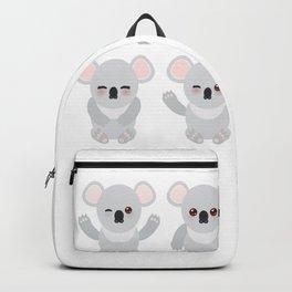 Funny cute koala set on white background Backpack