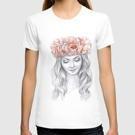 Girl in a pink wreath T-shirt