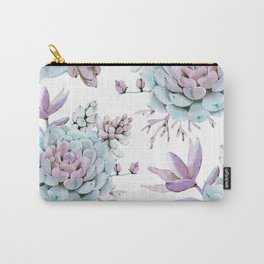 Turquoise and Violet Succulents Carry-All Pouch