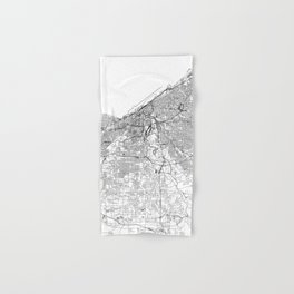 Cleveland White Map Hand & Bath Towel