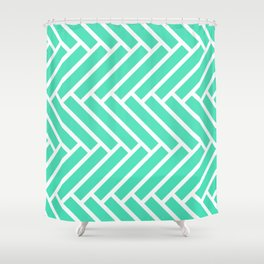 Menthol green and white herringbone pattern Shower Curtain
