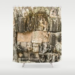 Mismatched Repairs, Bayon Temple, Angkor Thom, Cambodia Shower Curtain