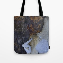 Old white paint on rusty metal Tote Bag