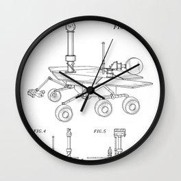 Nasa Mars Rover Patent - Mars Exploration Rover Art - Black And White Wall Clock