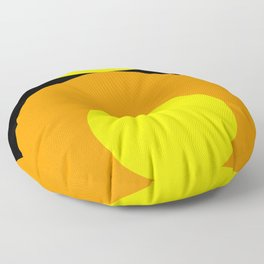 Two suns, one yellow with orange rays,the other orange with yellow rays,both floating in a black sky Floor Pillow