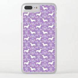 Dachshund purple florals pet portrait dog art dachsie doxie pet art dog breeds Clear iPhone Case