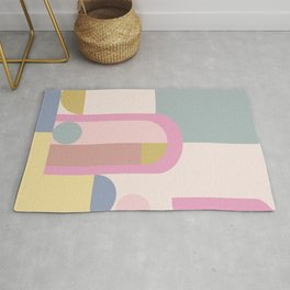 Modern Pastel Architecture Shapes in Pink, Yellow, and Blue Rug