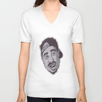 "tupac V-neck T-shirts featuring Tupac ''State Of Mind"" by SkilledCreativity"