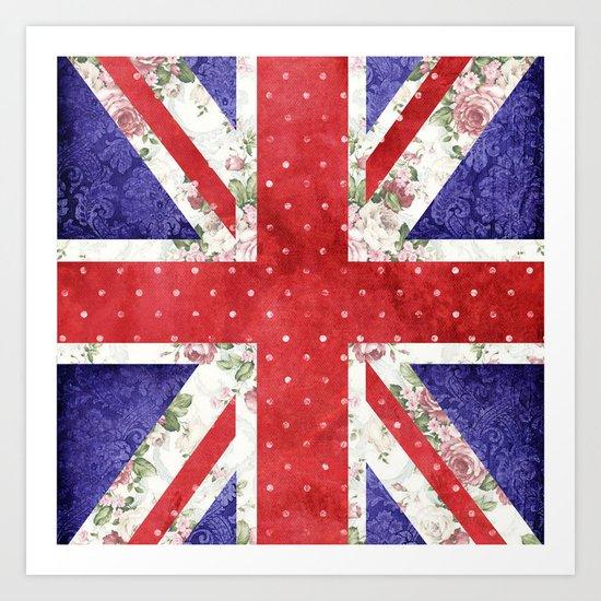 Vintage Red Polka Dots Floral UK Union Jack Flag and Blue Damask Art Print