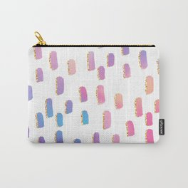 Abstract pink lavender faux gold glitter brushstrokes Carry-All Pouch