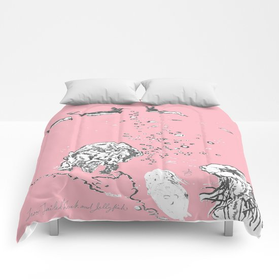 Two Tailed Duck and Jellyfish Baby Pink Deep Comforters