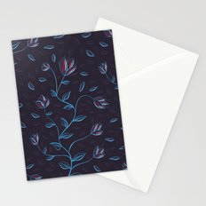 Abstract Glowing Blue Flowers Stationery Cards