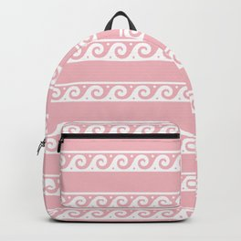 Pink and white Greek wave ornament pattern Backpack