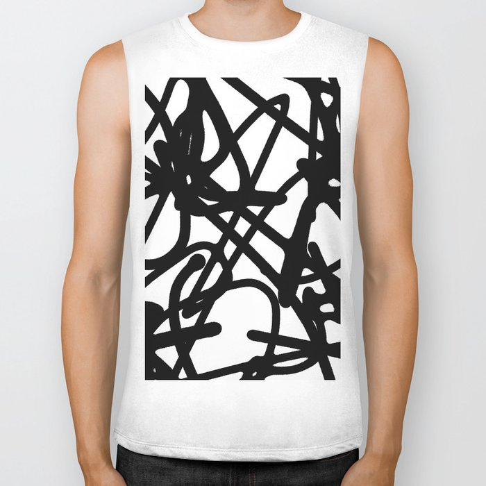 Meaningless - Black and white expressive painting Biker Tank